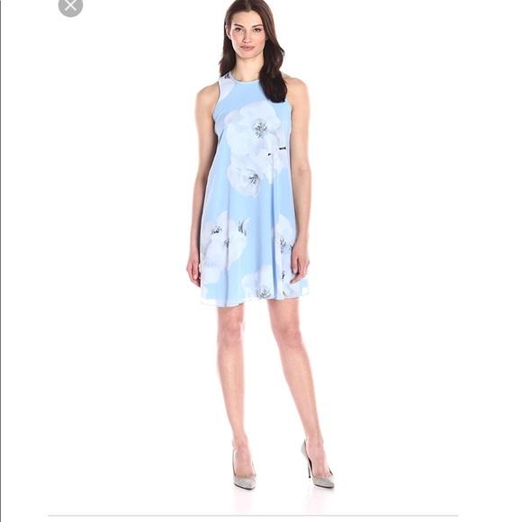 95658f35bf2d Calvin Klein Dresses   Nwt Blue Floral Chiffon Shift Dress   Poshmark
